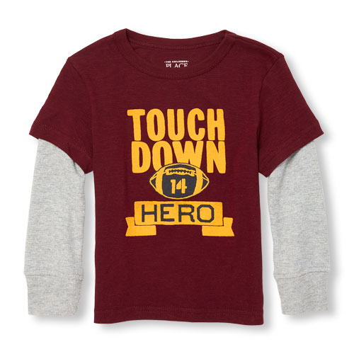 The Children's Place Boys Long Sleeve Graphic Faux-Layered Top Touch Down Hero