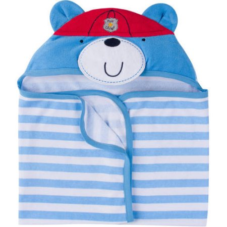 Gerber Baby Boy Terry Hooded Bath Wrap with 3D Applique Blue