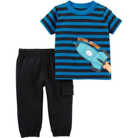 Child of Mine by Carter's Newborn Baby Boy Tshirt and Pants 2 Piece Set Rocket 6-9 M