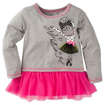 Girls Gerber Long Sleeve Top with tutu