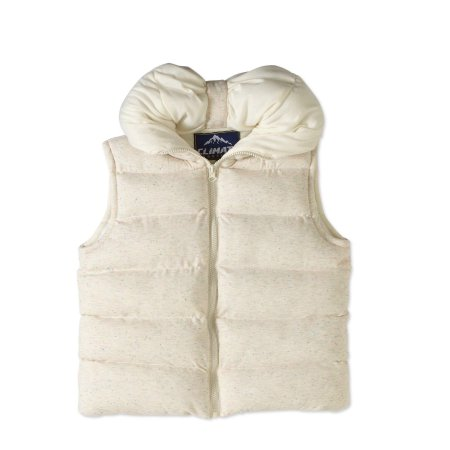 Climate Concepts Girls' Speckled Print Convertable Hood Puffer Vest White