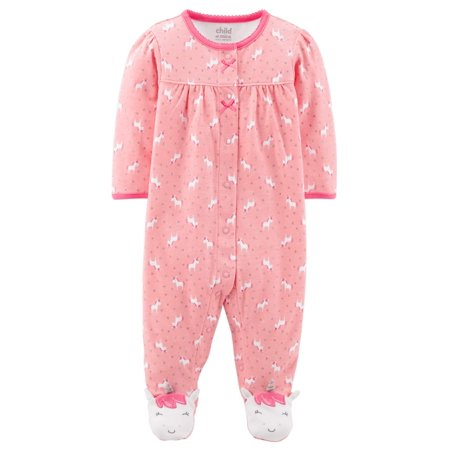 Child of Mine by Carter's Baby Girl Button-up Sleep 'N Play Girls