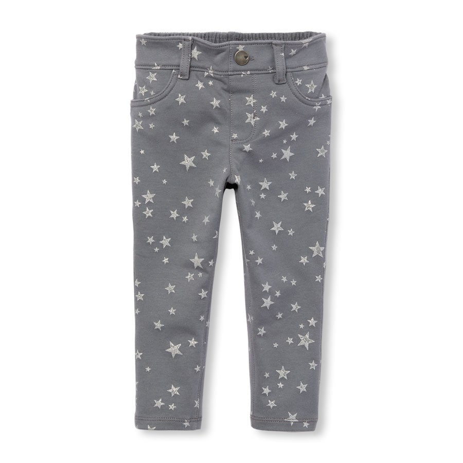 1f0fd66f80df The Children s Place Toddler Girls Sparkle Printed Knit Jeggings Grey