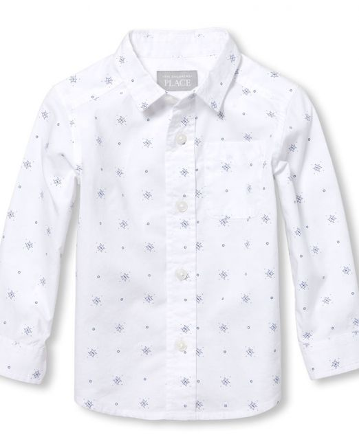 The Children's Place Toddler Boys Long Sleeve Geo Print Poplin Button-Down 5 years