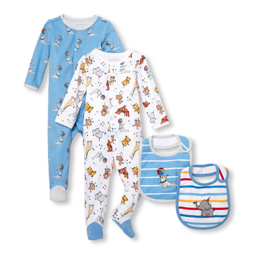 Baby Boys Circus Party Sleep And Play And Bib 4-Piece Set