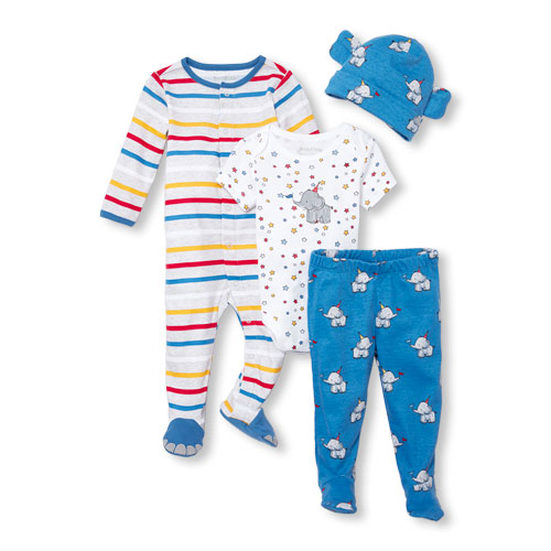 The Children's Place Baby Boys Long Sleeve Circus Party Take Me Home 4-Piece Set