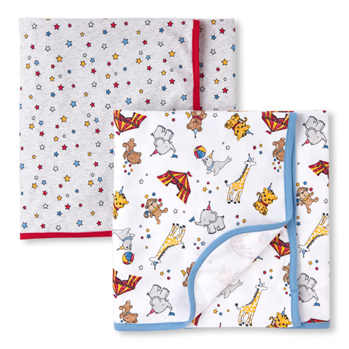 TCP Baby Boys Circus Party Swaddle Blanket 2-Pack