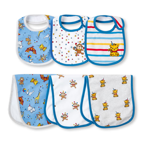 TCP Baby Boys Circus Party Bib And Burp Cloth 6-Pack