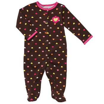 Carter's 1-piece Brown Hearts Snug fit Cotton Girls Pj