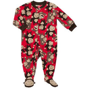 Carter's 1 piece Fleece Monkey Red PJ 18m