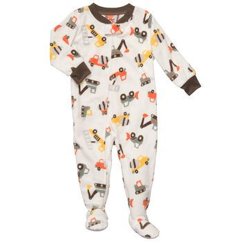 Carter's 1 piece Fleece Construction white PJ 18m