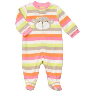 Carter's 1-piece Bear Pink Fleece Girls Pj  3m