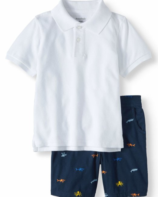 Garanimals white Pique Polo Shirt & Flat Front Shorts, 2pc Outfit Set