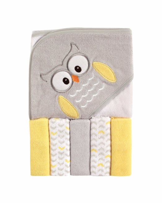 Luvable Friends Baby Hooded Towel with 5 Washcloths, Owl Yellow