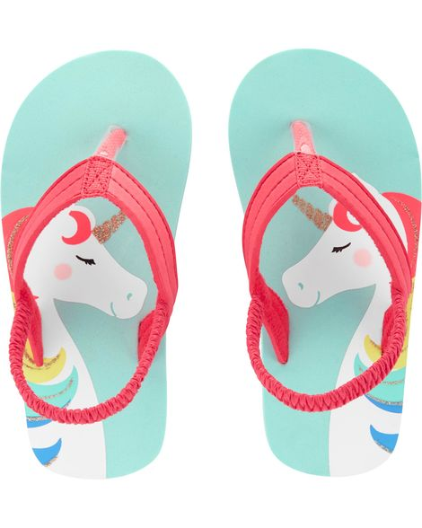 Carter's Unicorn Blue Flip Flops