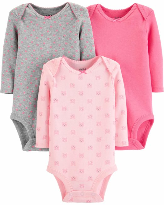 Child Of Mine By Carter's Baby Girls Long Sleeve Bodysuits simple