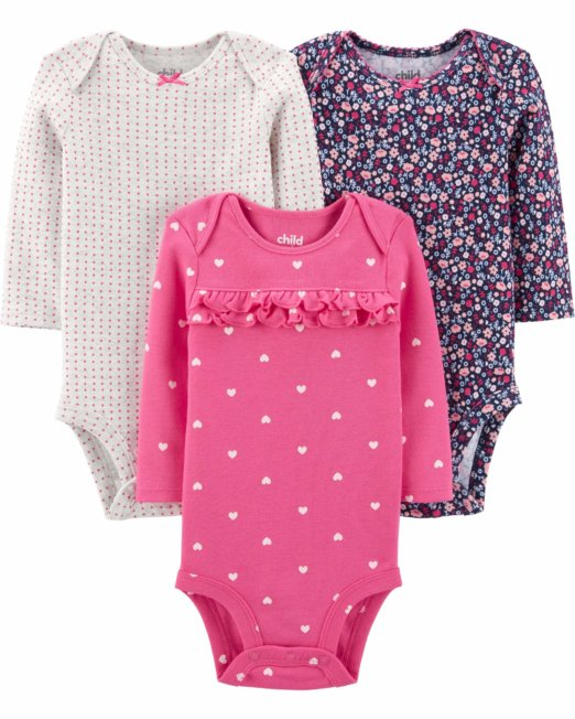Child Of Mine By Carter's Baby Girls Long Sleeve Bodysuits ruffles