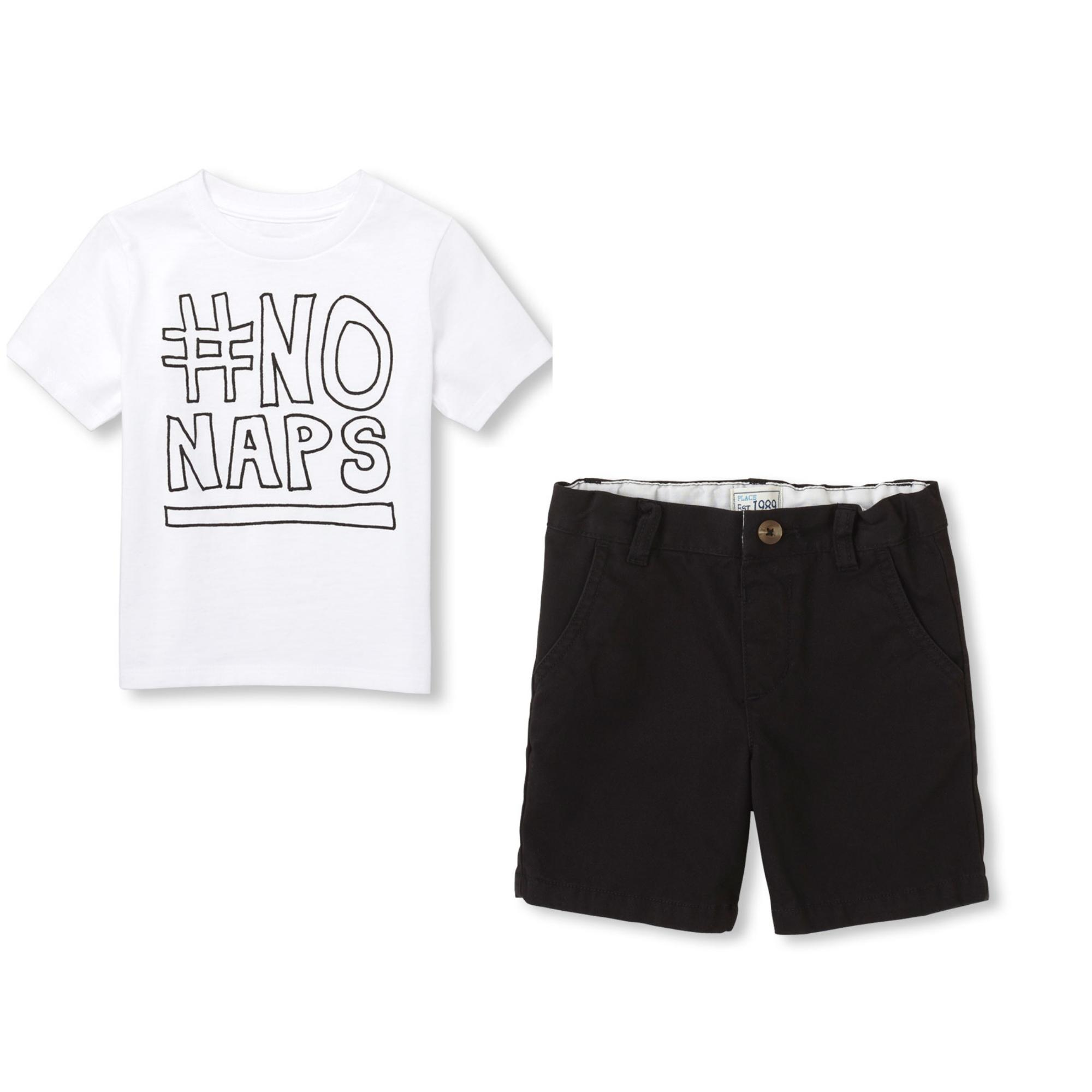 THE CHILDREN'S PLACE SHORT SLEEVE 'HASHTAG NO NAPS' GRAPHIC TEE & CHINO SHORTS